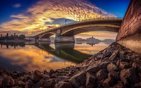 Picture bridge, the city, reflection, river, stones, dawn, morning, Hungary, Budapest, The Danube