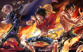 Picture art, guys, One Piece, three, characters