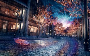 Picture autumn, trees, rain, home, the evening, umbrella, bridge, by K&P