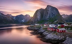 Picture mountains, shore, Norway, houses, pond, The Lofoten Islands, Lofoten