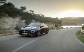 Picture road, machine, water, the sun, nature, coupe, turn, compact, Mercedes-Benz CLA