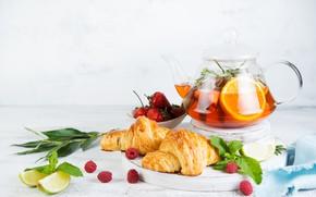 Picture tea, orange, kettle, lime, Still life, croissants