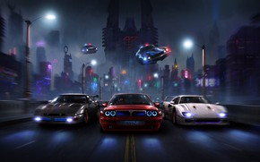 Picture Road, Night, The city, Police, Machine, City, Fantasy, Cars, Night, Fiction, Concept Art, BRZ, Supercars, …