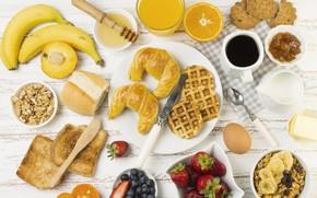 Picture berries, food, Breakfast, cookies, juice, fruit, wood, waffles, jam, toast, yogurt, granola