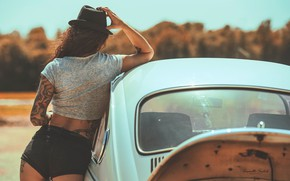 Picture girl, the sun, nature, pose, model, shorts, hat, Mike, figure, tattoo, brown hair, is, car, …