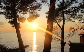 Picture sea, sunset, Sochi