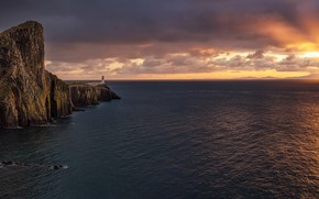 Picture sea, sunset, lighthouse, Scotland, horizon, Scotland, Cape, Isle of Skye, Neist Point, Isle Of Skye, …