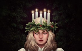 Picture Girl, Candles, Face, Art, Illustration, Santa Lucia, by Emily Solomon, Emily Solomon