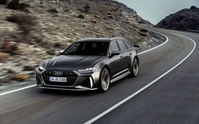 Picture Audi, markup, track, universal, RS 6, 2020, 2019, dark gray, V8 Twin-Turbo, RS6 Avant
