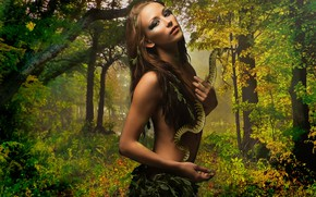 Picture girl, style, snake, treatment, jungle, art