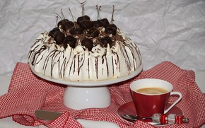 Picture cherry, table, coffee, the sweetness, spoon, knife, Cup, cake, dessert, saucer, tablecloth
