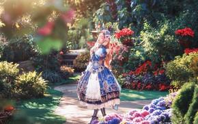 Picture summer, girl, light, flowers, nature, style, roses, garden, dress, outfit, horns, walk, Asian, wreath, cutie, …