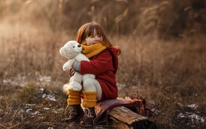 Picture toy, bear, girl