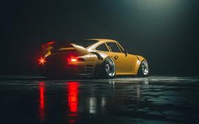 Picture Yellow, Porsche, Machine, Background, Car, Render, Porsche 911, Rendering, Concept Art, Yellow, Khyzyl Saleem, by …