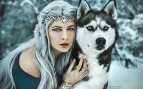Picture winter, look, girl, decoration, face, dog, long hair, blue hair, husky, Marketa Novak, Nikol Brabcová