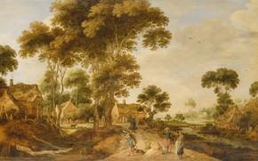Picture landscape, oil, picture, 1625, Gillis de Hondekuter, Gillis de Hondecoeter, Country road
