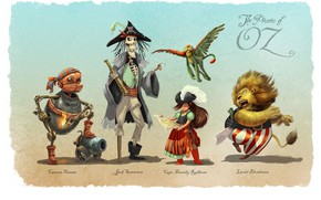 Picture pipe, creatures, shadows, gun, The Pirates of Oz
