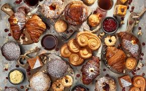 Picture tea, cakes, jam, cupcakes, buns