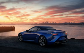 Picture sunset, the evening, Lexus, convertible, the soft top, 2021, LC 500 Convertible