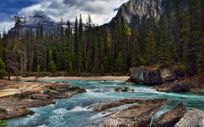 Picture Nature, Clouds, Mountains, Waterfall, River, Forest, Stones, Thresholds