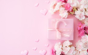 Picture flowers, background, pink, gift, hearts, Siam Pukkato