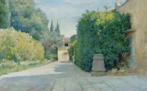 Picture landscape, picture, 1909, William Chase, William Merritt Chase, Villa in Florence.