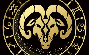 Picture black background, zodiac sign, Aries
