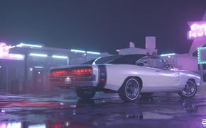 Picture Auto, Night, Machine, Style, 1969, Car, Render, Neon, Dodge Charger, Rendering, Puddles, Motel, Motel, Retrowave, …