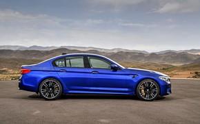 Picture blue, BMW, profile, sedan, BMW M5, four-door, 2017, M5, F90