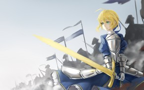 Picture the sky, girl, sword, the saber, Artoria Pendragon, Fate stay night, Excalibur, Fate / Stay …