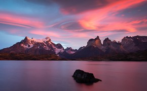 Picture the sky, mountains, nature, stone, tops, the evening, pond, Chile, Andes, Patagonia, sunset sky