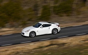 Picture road, white, speed, Nissan, 2011, 370Z
