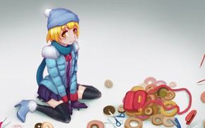 Picture hat, pencils, girl, donuts, scissors, Bakemonogatari, staplers