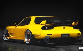 Picture Auto, Yellow, Machine, Mazda, Mazda, Art, Art, RX-7, Rendering, Mazda RX-7, Mazda RX 7, Mikhail …