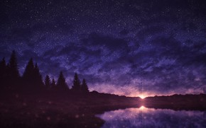 Picture sunset, nature, ate, pond, starry sky