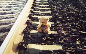 Picture sadness, toy, bear, railroad, forgot