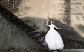 Wallpaper girl, life, wall, ladder, stage, the bride
