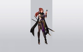 Picture Girl, Fantasy, Art, Style, Warrior, Background, Minimalism, Swords, Character