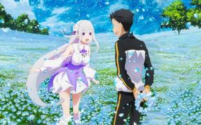 Picture girl, flowers, meadow, guy, wreath, Subaru, From scratch, Re: Zero Kara Hajime Chip Isek Or …