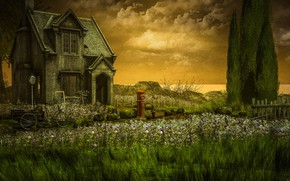 Picture the sky, clouds, trees, landscape, sunset, flowers, nature, bike, house, rendering, the fence, meadow, house, …