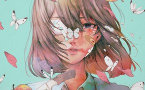 Picture girl, butterfly, apples, knife, crying, wataboku