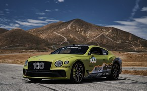 Picture coupe, Bentley, Continental GT, Pikes Peak, 2019, mountains in the background, 626 HP