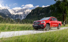 Picture mountains, red, Mercedes-Benz, pickup, 2018, X-Class