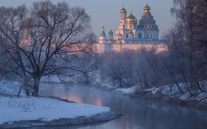 Picture winter, snow, trees, river, Cathedral, temple, Russia, the monastery, Moscow oblast, The River Istra, Istra, …