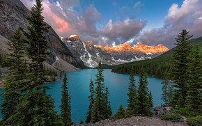 Picture forest, sunset, mountains, nature, the evening, Canada, Canada, moraine lake, Dmitry Vinogradov