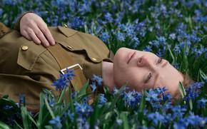 Picture girl, flowers, lies, military uniform, Dmitry Levykin