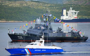 Picture ships, parade, Navy day, Severomorsk
