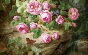 Picture butterfly, dragonfly, pink roses
