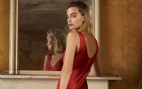 Picture girl, pose, back, dress, actress, mirror, Margot Robbie