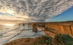 Picture the sky, clouds, the ocean, rocks, coast, Victoria, Australia, Australia, Victoria, Port Campbell National Park, …